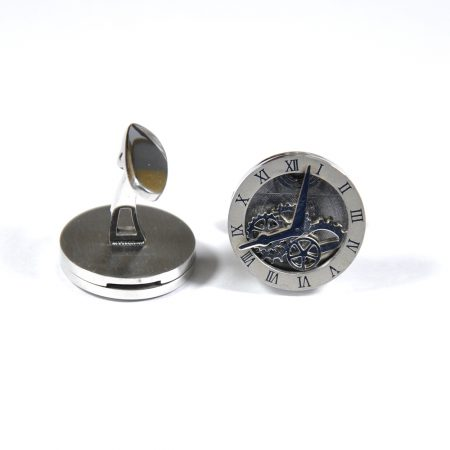 Silver Clock Design Cufflinks