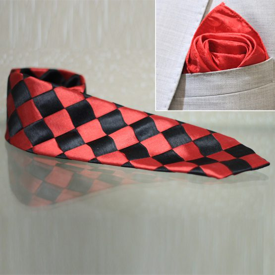 Hand Made Red & Black Design Rayon & Polyester Mix Tie & And Pocket Square
