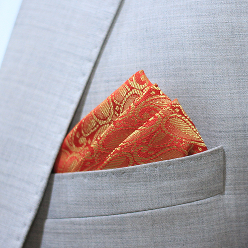 Hand Made Redish Jamawar Pocket Square