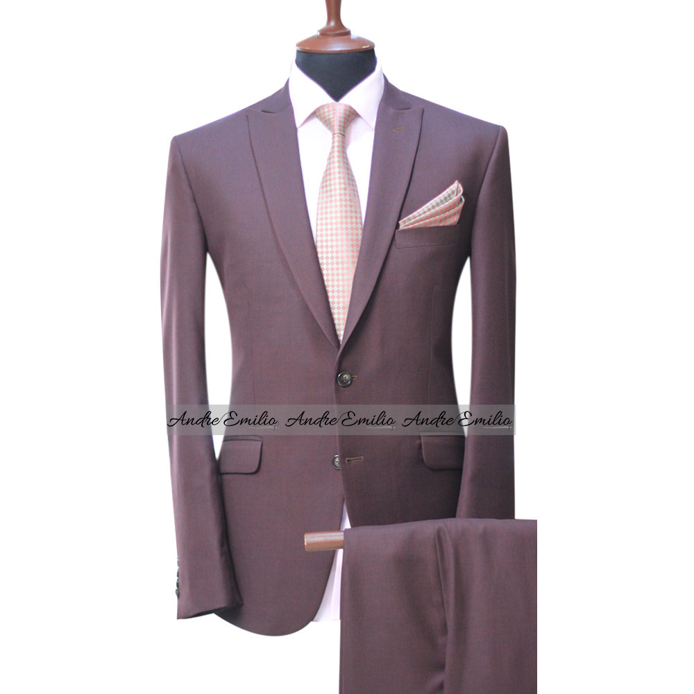 Men S Brown Suit Two Button 2 Piece Suit Blazer Dress Business Wedding Party Jacket Vest Pant
