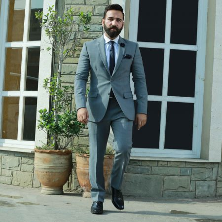 Customize Italian Tropical 2 pcs Grey Suit with Cotton Shirt