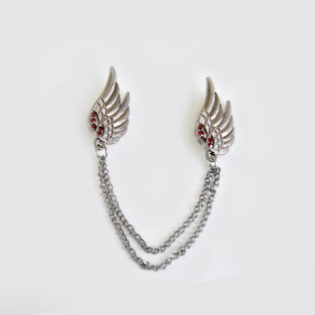 Buy Silver Wing Design Broach with Red Pearls For Men