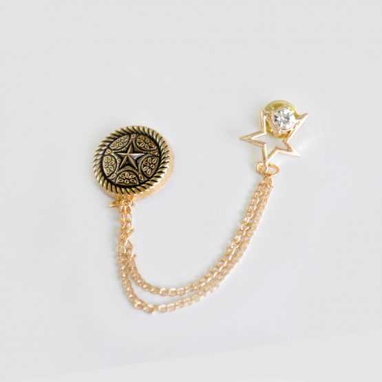 Buy Gold & Black Star Design Classic Broach For Men