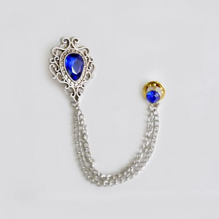 Ocean Blue Broach with Silver Chain For Men | Andre Emilio
