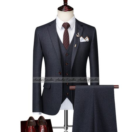 Grey Customize 3 Pcs Suit with V-Shape 5 Button Waistcoat