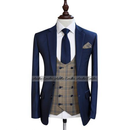 Customize Navy Blue Italian Tropical 3 Pcs King Suit