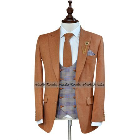"Customized Orange ""Lana e Seta"" 3 Pcs King's Suit"