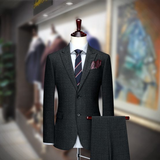 Buy Charcoal Cashmere Wool Suit for Summer Season