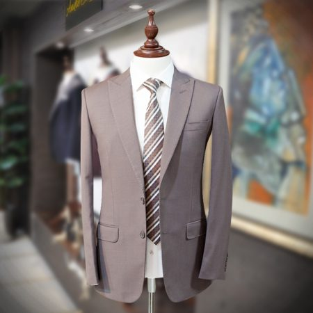 Luxury 2 Piece Light Brown Suit with Polyester Mix Fabric