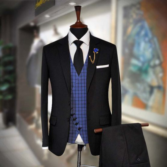 Buy Dark Black 3 Piece RTW Suit for Men