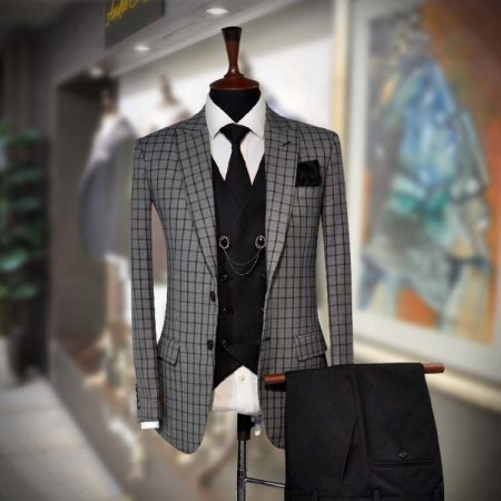 Grey Windowpane Check 3 Piece Suit - Andre Emilio