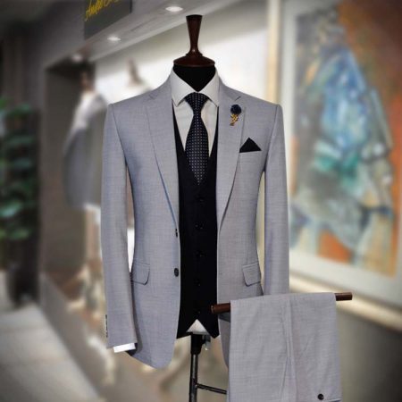 Essential for Men Grey 3 Piece RTW Suit