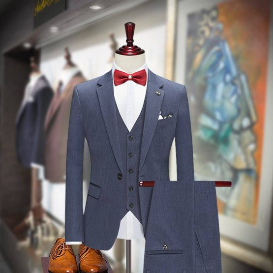 Traditional Fit Steel Gray 3 Piece Suit