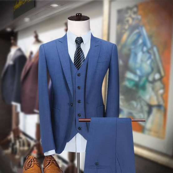 Elegant Customized 3 Piece Blue Suit by Andre Emilio