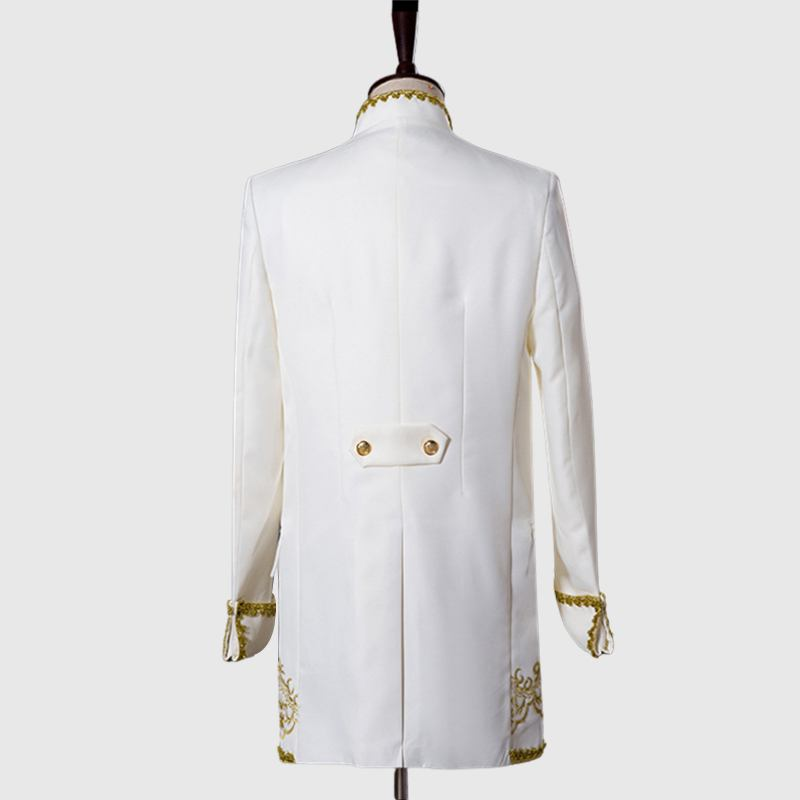 Primum White 3 Piece Suit with Golden Pattern