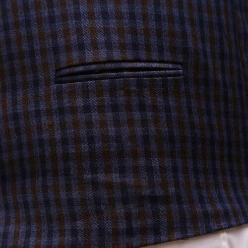 Men Navy Blue Suit With Check Waistcoat Pockets