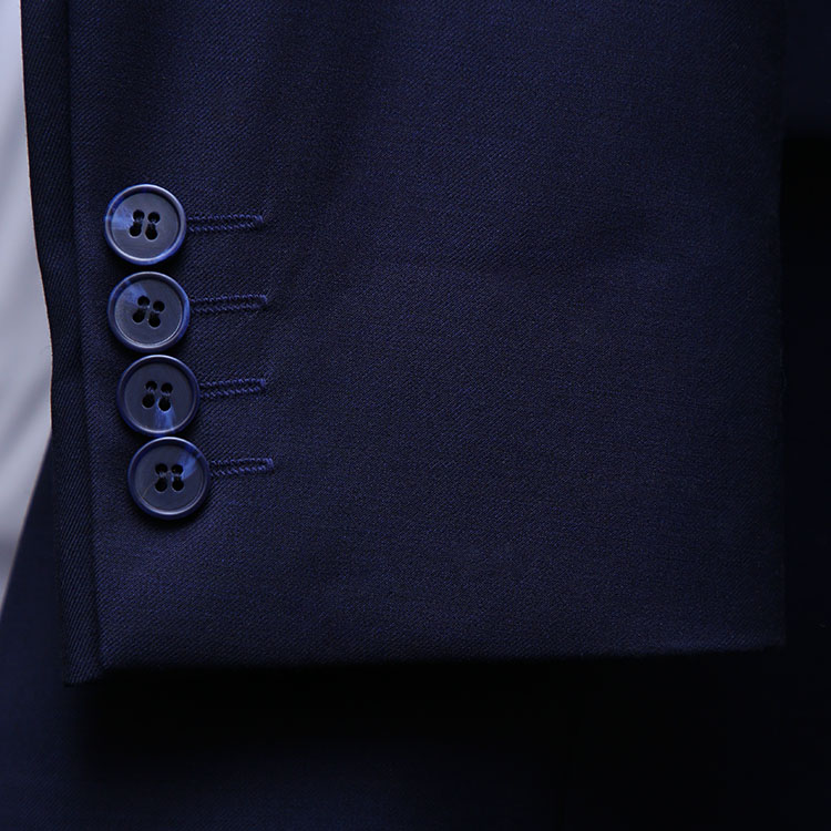 Men Navy Blue Suit With Check Waistcoat Sleeves